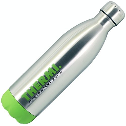 Thermi Vacuum Insulated Cold Hot Bottle - Double Walled Stainless Steel Water Thermos Cup - Compare to S'well, Contigo, Yeti, Hydro Flask - Cola Style Sports Tumbler (Lime Green, 25oz)