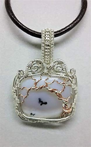 - Dendritic Agate Tree-of-life Sterling Silver Copper Pendant