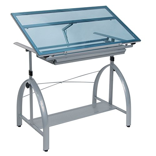 Studio Designs Avanta Drafting Table in Silver with Blue Glass 10060