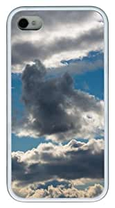 Clouds Sky TPU White Case for iphone 4S/4
