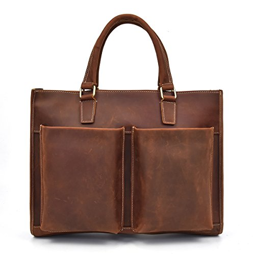 Echtes Leder Aktentasche 15 Business Laptop Handtasche Tasche braun Arbeit Tote (Light Brown) Light Brown 5Sw4nK