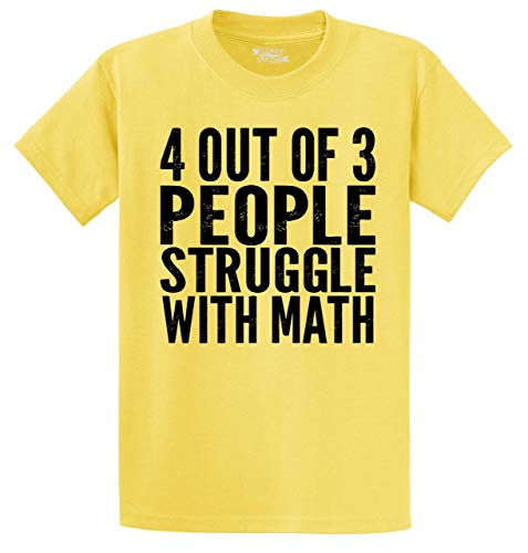 (Men's Heavyweight Tee 4 Out of 3 People Struggle with Math Funny Geek Shirt Yellow XL)