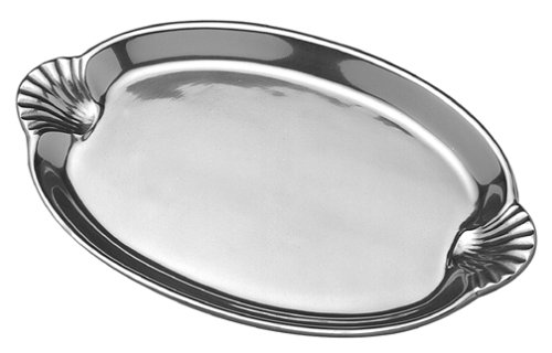 Wilton Armetale Sea Life Scallop Handled Oval Serving Tray, 10.75-Inch-by -