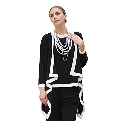 IC Collection Twin Set in Black and White - 5283JT-BLK (XXL)