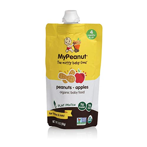 MyPeanut Organic Baby Food Pouch, with Plant Protein, Peanuts and Apple Puree, The Delicious Way for Babies to Enjoy Healthy Nuts, Non-GMO, 3.5 oz, 18 Pack