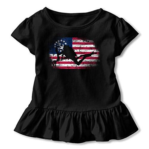 (Baohuju USA American Flag Scuba Diving Baby Girls' Short Sleeve T-Shirt One-Piece Dress Black )