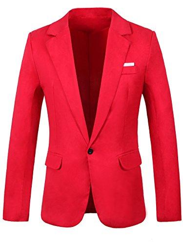 GARSEBO Men's Casual Dress Suit Slim Fit Stylish Blazer Coats Jackets, Red, XL