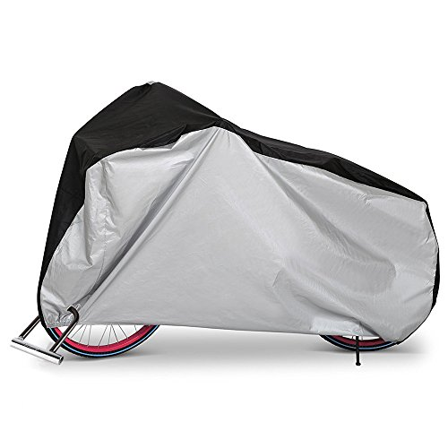 Olycism Bike Cover Bicycle Cover Bike rain cover waterproof Dust Rain Cover Wind Proof Anti sun Anti wrinkle Indoor Outdoor Protection Enlarge with Lock-hole-Sliver &Black