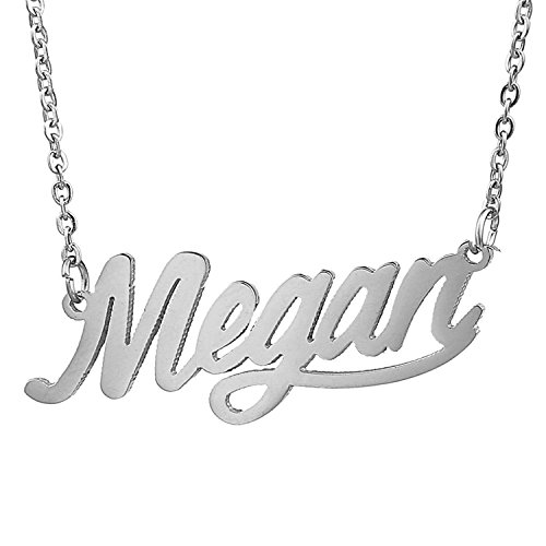 HUAN XUN Stainless Steel Birthday Nameplate Necklace Gift, Megan