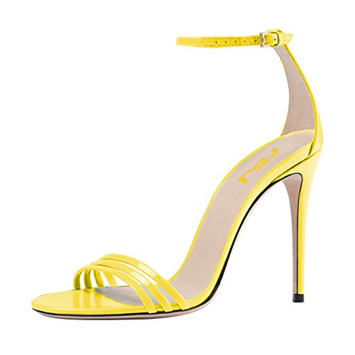 Sandals Shoes 4 15 Heel US Women Prom D'Orsay Stiletto Strappy FSJ Yellow Toe Strap High Ankle Size Sexy Open Z0OnwgxqaC