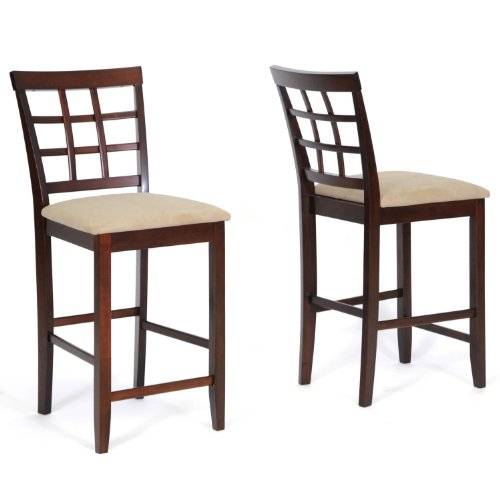 Baxton Studio Katelyn Wood Modern Counter Stool, Brown, Set of 2 (Breakfast Bar For Stools Sale)