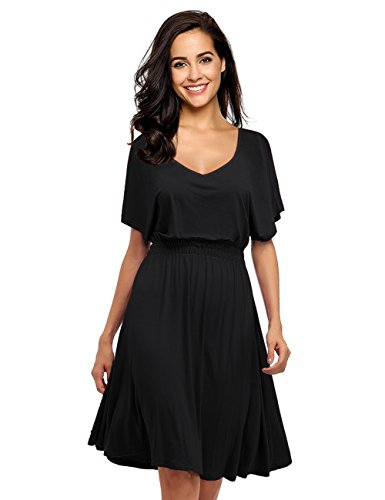 Neck Elastic Waist Casual Dress (Black - Batwing Sleeve, S) ()