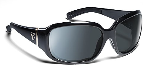 7eye by Panoptx Mistral Frame Sunglasses with Polarized Gray Lens, Glossy Black, - Frames For Small Best Face