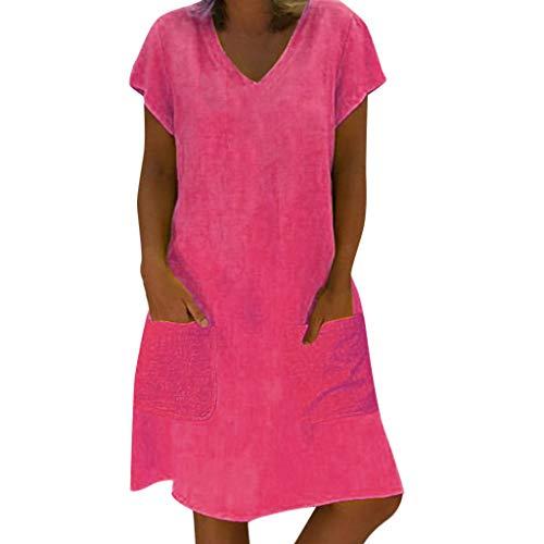 Willow S  Women Summer Fashion Style Feminino Vestido V-Neck Short Sleeve T-Shirt Cotton Plus Size Dress ()