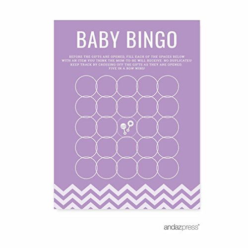 Andaz Press Lavender Chevron Girl Baby Shower Collection, Games, Activities, Decorations, Baby Bingo Game Cards, (Personalized Bingo Games)