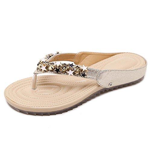 Feifei Zapatos de Mujer Verano PU Material Ocio Moda Moda Rhinestone Pantuflas Planas Oro Negro Opcional (Color : Negro, Tamaño : EU38/UK5.5/CN38) Oro