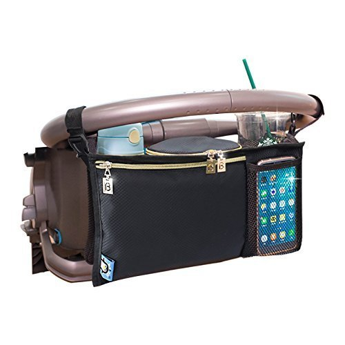 Stroller Organizer for Smart Moms, Fits All Strollers, Premium Deep Cup Holders, Extra-Large Storage Space for iPhones, Wallets, Diapers, Books, Toys, & iPads, The Perfect Baby Shower Gift!
