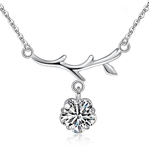 Emma Manor 925 Sterling Silver 5 Prong Plum Cubic Zirconia Plum Branches Drop Pendant Necklace for Women,Silver...