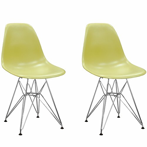 Green Mod Made Mid Century Modern Paris Tower Side Chair Dining Chair Bistro Chair for Dining Room Living Room or Kitchen - Black (Set of 2)