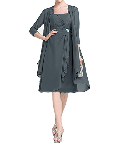 grey silk dress and jacket - 4