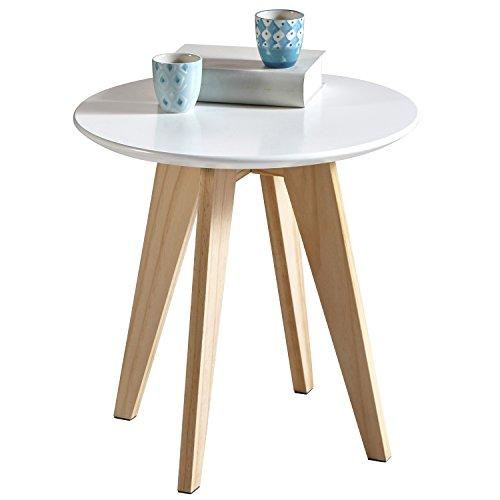 Couchtisch Beistelltisch | runde Platte aus MDF | 40cm | Tischbeine aus massiv Holz | weiß - Kiefer - 299019