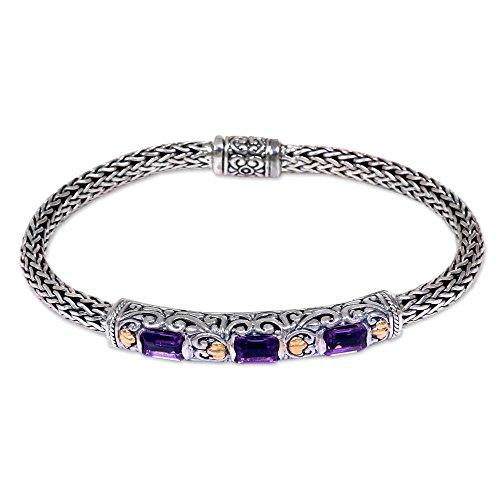 (NOVICA Amethyst .925 Sterling Silver 18k Gold Accent Bracelet, 7.5