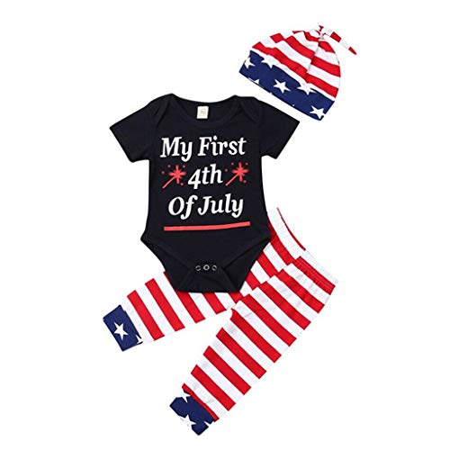 3-Sets (0-2Y) Newborn Baby Girl Boy Cotton Blend Short Sleeve My First 4Th of July Letter Independence Day Star Stripe Tops Romper Pants Hat Outfits (70)