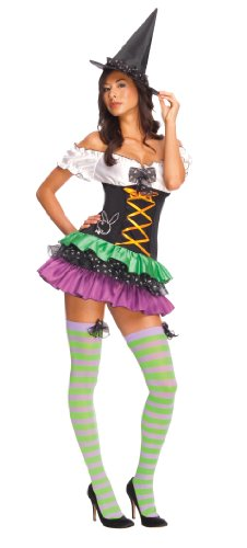 (Secret Wishes Women's Playboy Sexy Witch Costume, Black, Large)