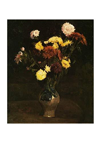 Spiffing Prints Vincent Van Gogh Basket of Carnations and Zinnias, 1886 - Medium - Semi Gloss - Framed