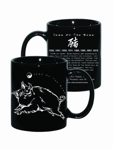 Goldenwave Creations Golden Wave Creations Asian Oriental Chinese Zodiac Coffee & Tea Mug Black Year of The Boar: Birth Years 1923, 35, 47, 59, 71, 83, 95, 07, -