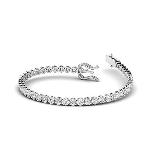 FG/SI - 2 Carat Lab Grown Round brilliant Cut Diamond Studded tennis Bracelet Crafted in Pure White, Rose, Yellow Gold - 7 Inch Lenth