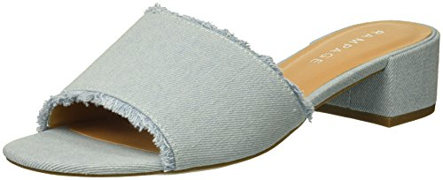 Rampage Women's Malista Peep Toe Slip On Backless Block Low Heel Mule Flat Sandal, Light Denim, 8.5 Medium (Denim Mules)