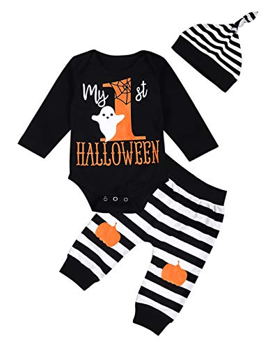My First Halloween Baby Girl Boy Clothes Newborn Baby Outfits with Headband and Leg Warmer Sets 3PC (Black-B, 0-3 Months)]()
