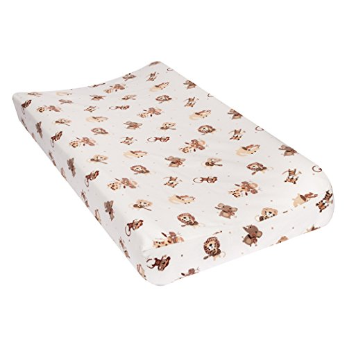 Trend Lab 100% Cotton Safari Rock Band Deluxe Flannel Changing Pad Cover, White/Tan