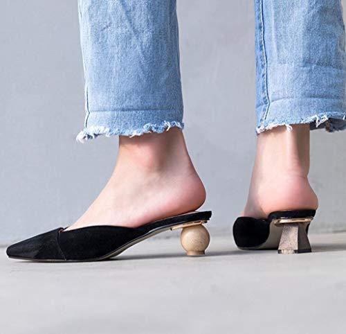 Sandali Dimensioni Esterna Colore Pigri Usura Sandali Retro Baotou Estivi 38 Femminili di Nero Scarpe di OqUwrO