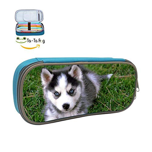 dandanSun Baby Husky Dog Pencil Case Student 3D Printed Pen Box Stationery Pouch Multipurpose Storage Bag Blue