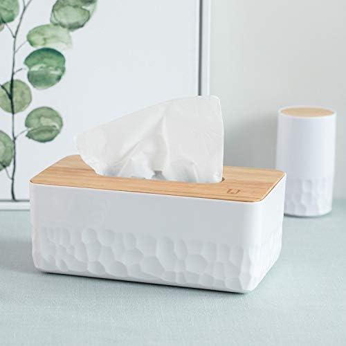 おしゃれ ティッシュケース ティッシュボックス 木蓋付き 木目調 ホワイト 2個セット