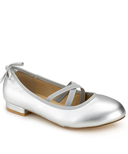 RF ROOM OF FASHION Mary Jane Ballet Flats - Stylish and Comfortable Ballerina Style Flat Shoes - Women's Mary Janes with a Low Heel and Bow Back Straps - Dress Up or Down - Slip-on Silver (6.5) Bow Detail Flats