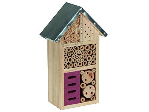 Perel Insektenhotel aus Holz mit Mettaldach, mittelgroß, 26 x 15 x 8 cm, braun, BB50502 mittelgroß
