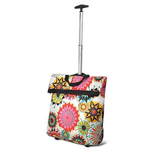 Yuany Folding Shopping Cart Portable Trolley Travel Fashion Shopper Luggage Storage Bag Max Load 25kg in Colored Flower 36×17×100cm