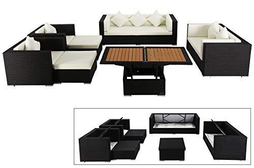 OUTFLEXX Exklusives XL Lounge-Set aus hochwertigem Polyrattan in schwarz, 3-Sitzersofa, 2-Sitzer, 2 Sessel, 2 Hocker und höhenverstellbarer Tisch, inkl. Polster, für 7 Personen, Kissenboxfunktion,