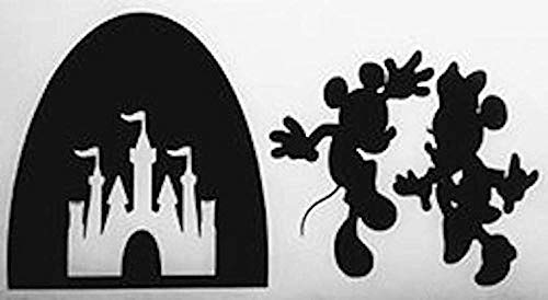 Black, Castle, Mickey, Minnie, Mouse, Christmas,Hole in Wall, Disney Castle, Disney, Kids, Baby, Living Room, Kitchen, Girls, Teens, Moms, Dads, Boys, Walls, Home, Decorations, Vinyl Sticker, Sticker,