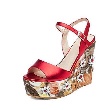 Verano Guantes-Sandalias para mujer boda vestido de oficina de piel de cuña de Club-Zapatos de plata de color rojo rojo