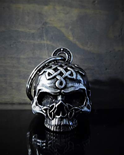 Celtic Skull Motorcycle Biker Bell Accessory or Key Chain for Luck