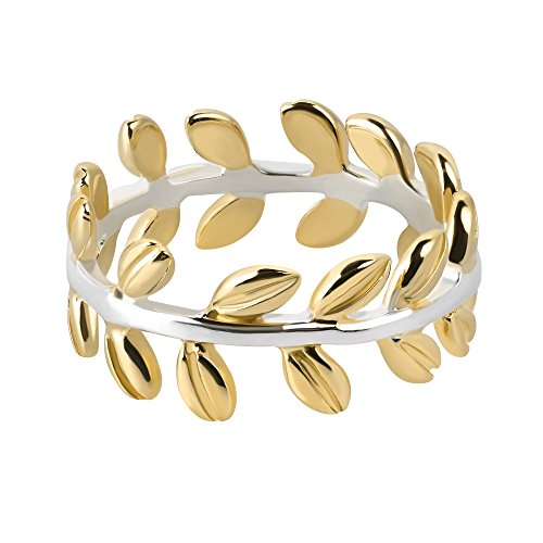 Serenity Two Tone Leaf Wrap Ivy Band Gold Vermeil Sterling Silver Ring (9)