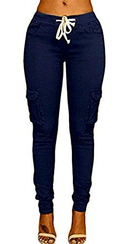 Eleganti Skinny Libero A Elastico Pantaloni Pantaloni Costume Fashion Coulisse Femminile Con Donna Trousers Dunkelblau Matita Tasche Cargo Huixin Pantaloni Monocromo Con Tempo gXSwqP