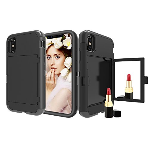 iPhone Xr Case, Solomo Wallet Case Design with Hidden Back Mirror and Card Holder Heavy Duty Protection Shockproof Armor Protective Case for iPhone Xr 6.1'' (Black) ()