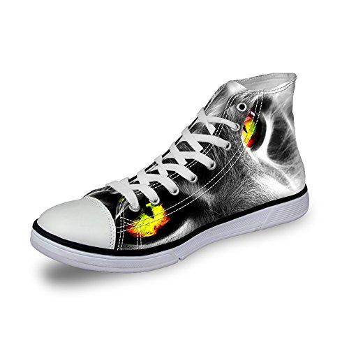 Per Te Disegni 3d Zoo Animali Modello Appartamenti Sneakers Per Uomo Scarpe Di Tela C4042ak