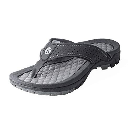 Kaiback Men's Lakeside Sport Flip Flop Sandal (11, Grey) ()