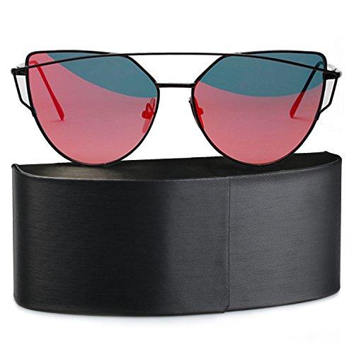 Plats Rouge Soleil Fille Lentille Cateye Chat Œil Unisex Femmes Verres SUNVON de UV400 Lunette de Polarisées Sunglasses Miroité UEHxycwzTq